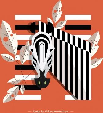 zebra icon classical flat sketch stripes decor