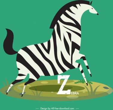 zebra icon colored classical flat design