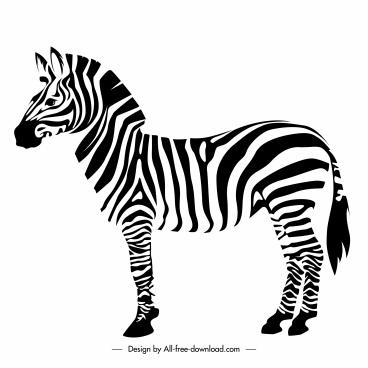 zebra icon flat back white handdrawn sketch