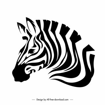 zebra icon head sketch black white handdrawn