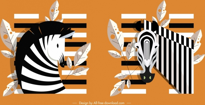 zebra icons black white classical sketch