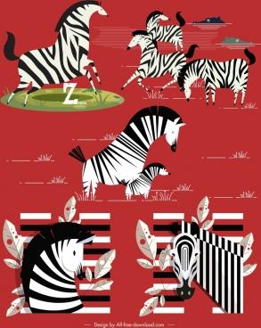 zebra icons black white stripes decor