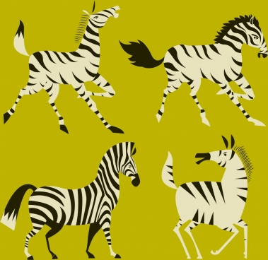 zebra icons collection colored cartoon design