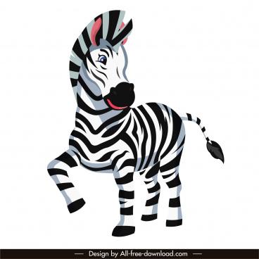 zebra species icon cute cartoon sketch