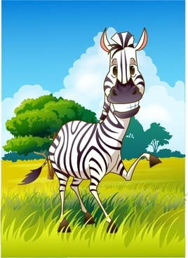 animal painting cute zebra icon colored cartoon design