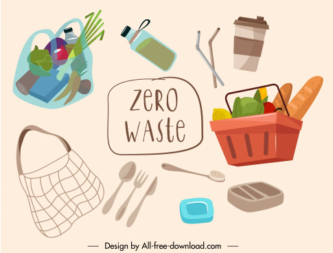 zero waste banner food personal utensils sketch