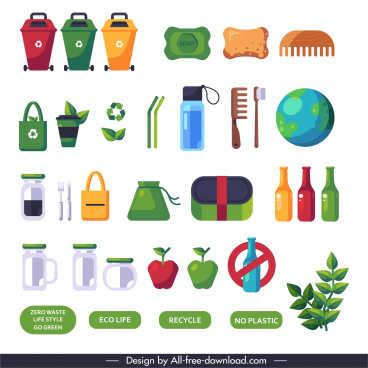 zero waste elements colored flat symbols sketch