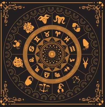 zodiac compass template black yellow circle design