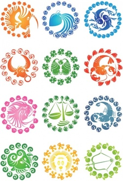 zodiac creative icons vector