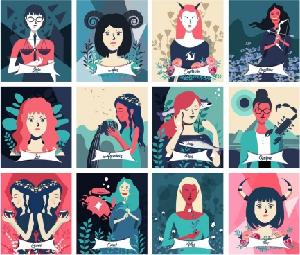zodiac icons collection female characters cartoon design