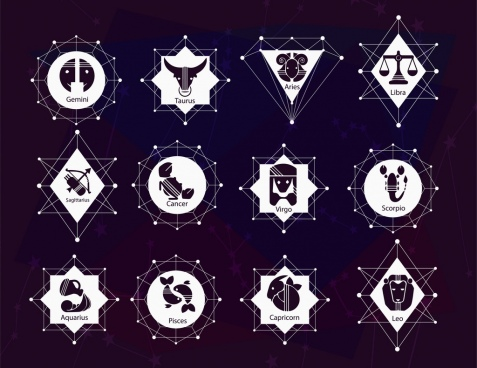 zodiac signs collection black white design geometric isolation