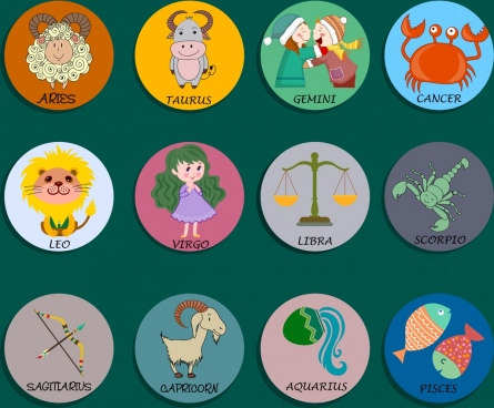 zodiac signs collection cute design circles isolation