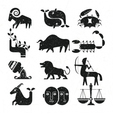 zodiac signs collection retro flat black design