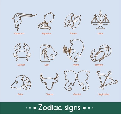 zodiac signs collection with silhouettes design style
