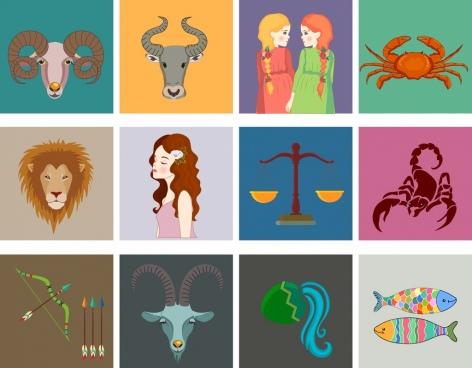 zodiac symbols collection multicolored squares isolation