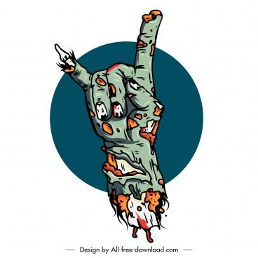 zombie hand icon terrible decomposing sketch