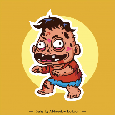 zombie icon frightening kid sketch cartoon character