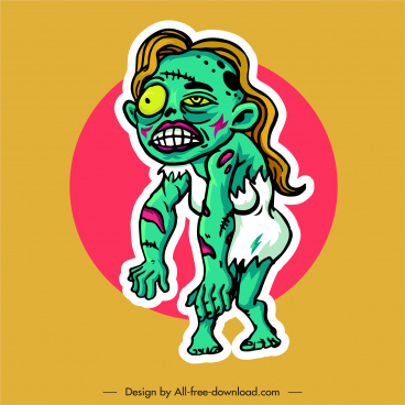 zombie icon frightening woman sketch cartoon character