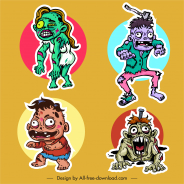 zombie icons horror cartoon characters sketch