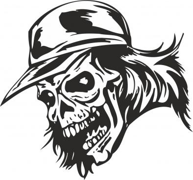zombie skull with cap sticker vector free vector