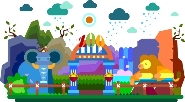 zoo painting illustration with animals and colorful style