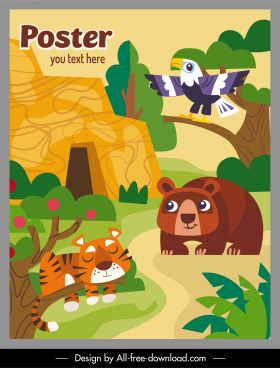 zoo poster template colorful flat design cartoon sketch