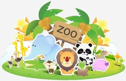 zoo background cute animals icons colorful flat sketch