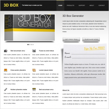 3D BOX Template Free website templates in css, html, js format for ...