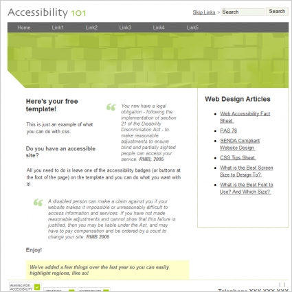 accessibility 101 template free website templates in css html js
