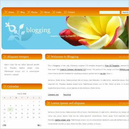 blogging free website templates in css html js format for free