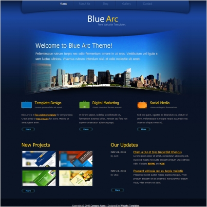 Blue arc design free website templates in css html js for Website layout design software free download