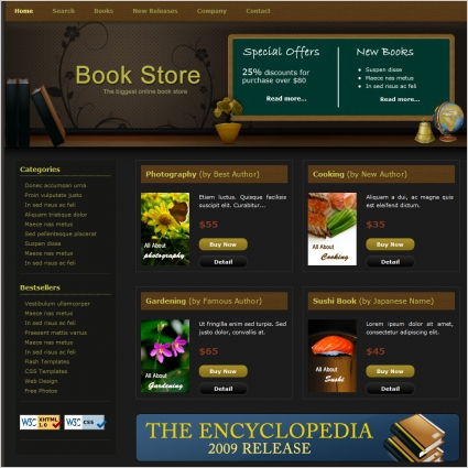 book store free website templates in css html js format for free