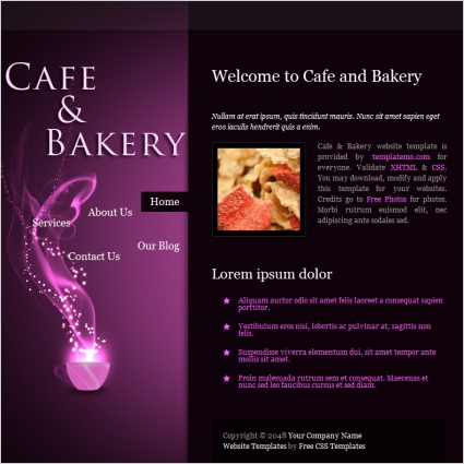 cafe bakery Free website templates in css, html, js format for free on animation flyer, illustrator flyer, design flyer, flex flyer, sharepoint flyer, software flyer, iphone flyer, microsoft flyer, twitter flyer, seo flyer, soap flyer, psd flyer,