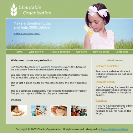 Charitable Organization Template Free website templates in css, html ...