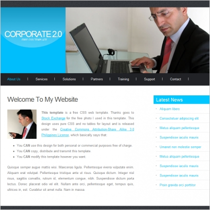 corporate 2 0 template free website templates in css html js