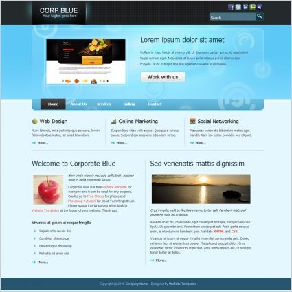 Corporate blue Free website templates in css, html, js format for ...