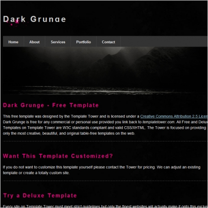 dark grunge template free website templates in css html js format