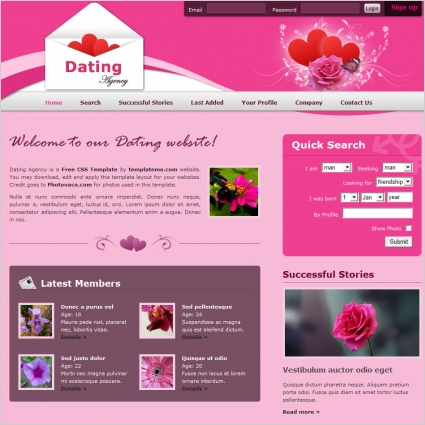 dating Free website templates in css, html, js format for free ...