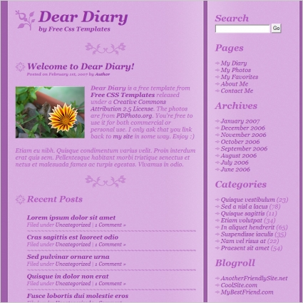 Deardiary Free Website Templates In Css Js Format For