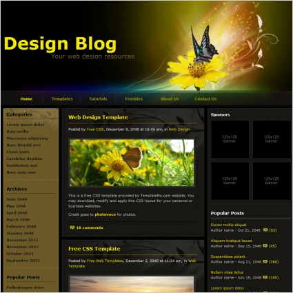 design blog free website templates in css html js format for free download 15409kb