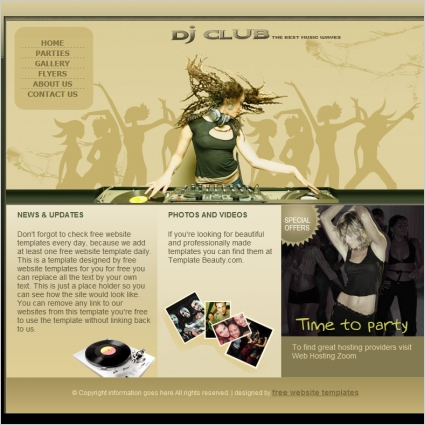 dj club template free website templates in css html js format for