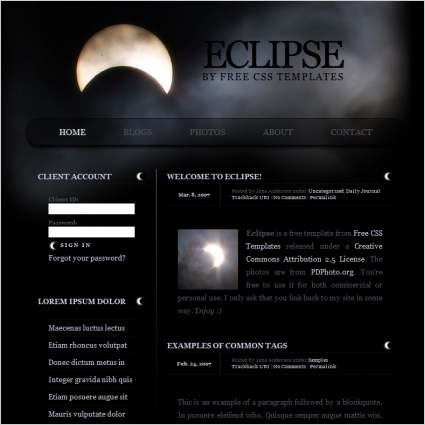 Eclipse Free website templates in css, html, js format for free ...