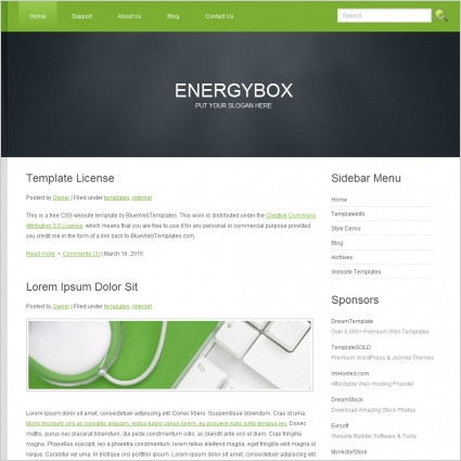 Energy Box Template Free Website Templates In Css Html Js Format