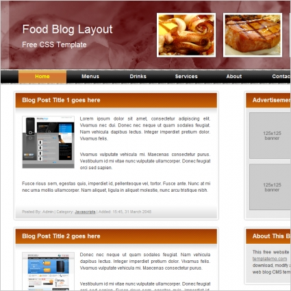 food blog Free website templates in css, html, js format for free