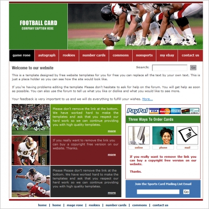 football card template free website templates in css html js