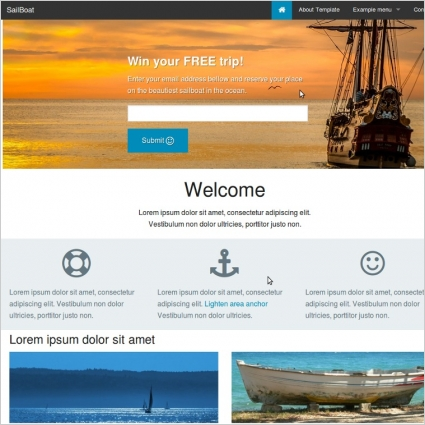 foundation 5 reasponsive website template sailboat