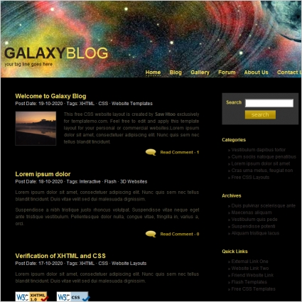 galaxy template free website templates in css html js format for