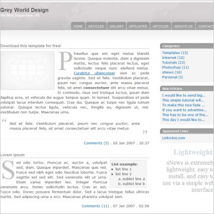 Grey World Design Template
