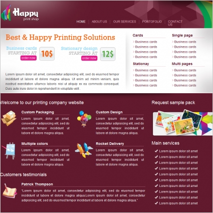 Happy Print Shop Template Free website templates in css, html, js