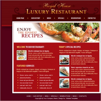 luxury restaurant template free website templates in css html js